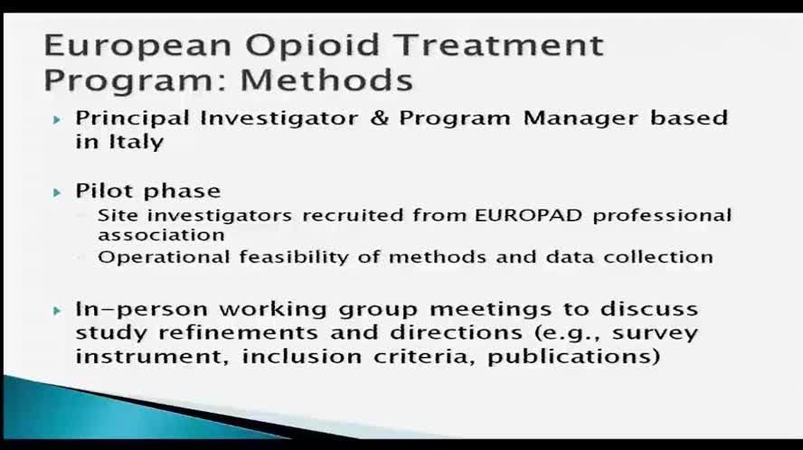 Radars system collaboration European opioid treatment program goals and data