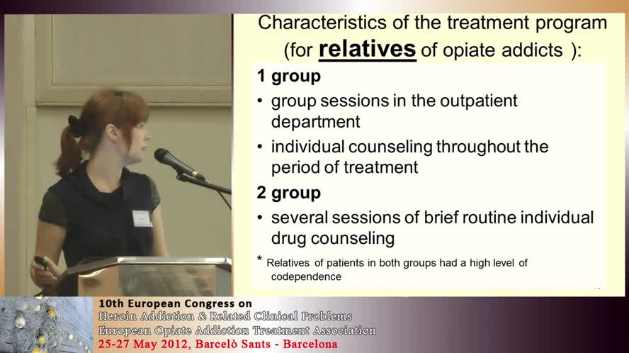 Treatment of codependence in the relatives of opiate addicts as a way to prevent a relapse