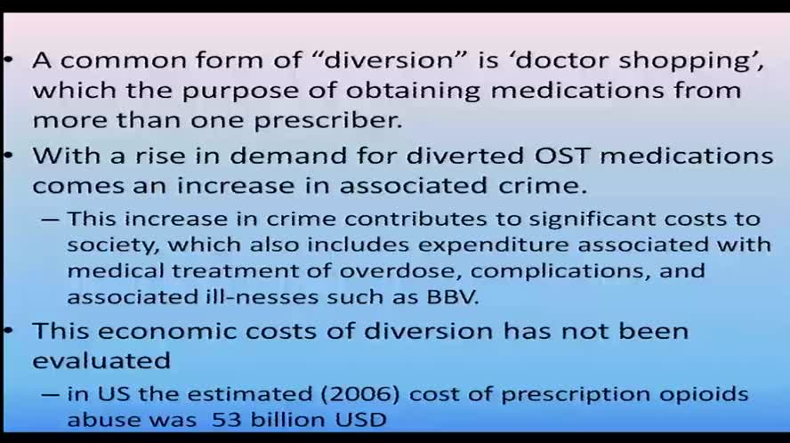 Diversion of opioid maintenance medications strategies to govern the problem