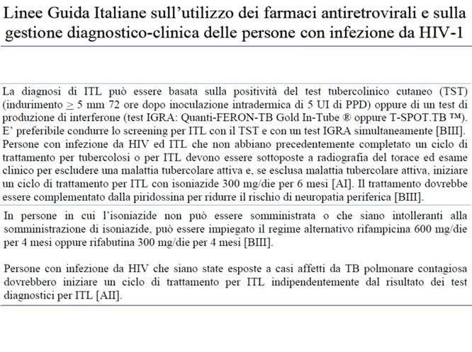 TB & HIV update: profilassi e terapia