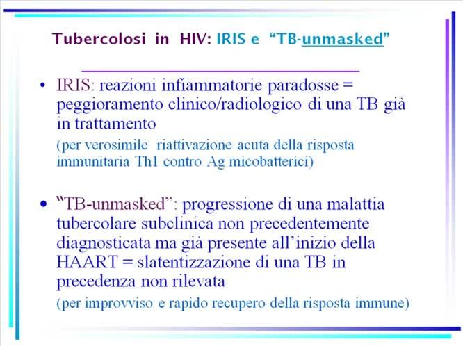 Tubercolosi in HIV ricapitolando
